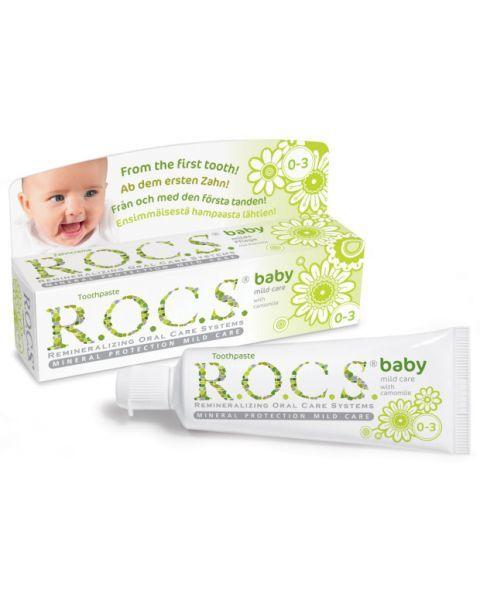 """Dantų pasta kūdikiams R.O.C.S """"Mild care with Camomile"""" 0-3 metų vaikams, 45 g"""