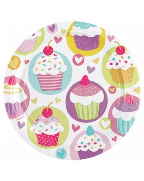 Vienkartinės lėkštutės AMSCAN Cupcake, 8 vnt., 18 cm