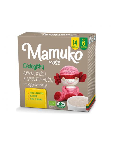 Ekologiškų kviečių speltos, grikių ir ryžių kruopyčių mišinys košei MAMUKO vaikams nuo 6 mėn., 240 g