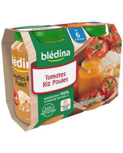 Pomidorų, ryžių ir vištienos tyrelė BLEDINA nuo 6 mėn., 2x200 g