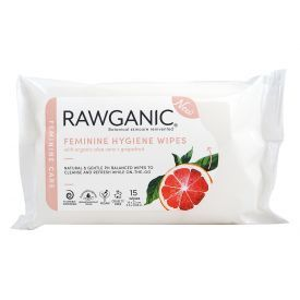 Drėgnos intymios higienos servetėlės RAWGANIC su alaviju ir greipfrutais, 15 vnt.