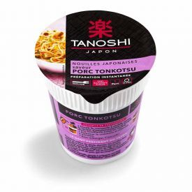 Greito paruošimo japoniški makaronai TANOSHI, TONKOTSU kiaulienos skonio 65g