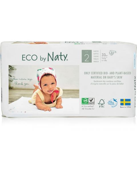 Sauskelnės EKO by NATY 2 Mini 3-6 kg kūdikiams, 33 vnt.