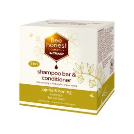 Kietasis plaukų šampūnas ir kondicionierius su jojoba ir medumi BEEHONEST, 80 g