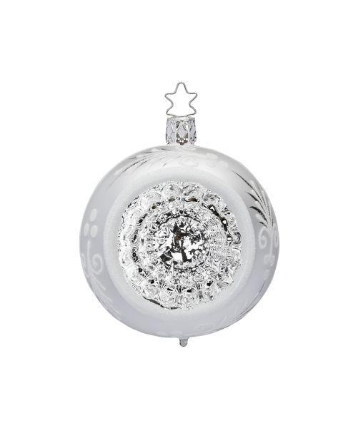 """Rankų darbo kalėdinis žaisliukas INGE-GLAS® """"Sidabro atspindžiai - burbulas"""", 10 cm, 1 vnt."""