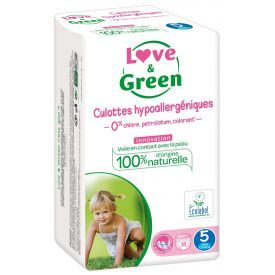 Ekologiškos sauskelnės-kelnaitės LOVE&GREEN, 5 dydžio, 12-18 kg, 18 vnt.