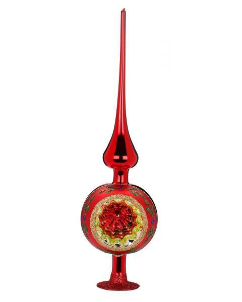 """Rankų darbo kalėdinis žaisliukas INGE-GLAS® """"Įvairių spalvų atspindžiai - viršūnė"""", raudona, 10x36 cm, 1 vnt."""