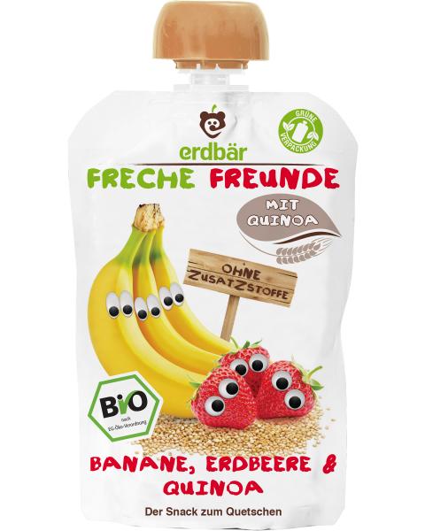 Ekologiška bananų ir braškių tyrelė FRECHE FREUNDE su bolivinėmis balandomis, 100 g
