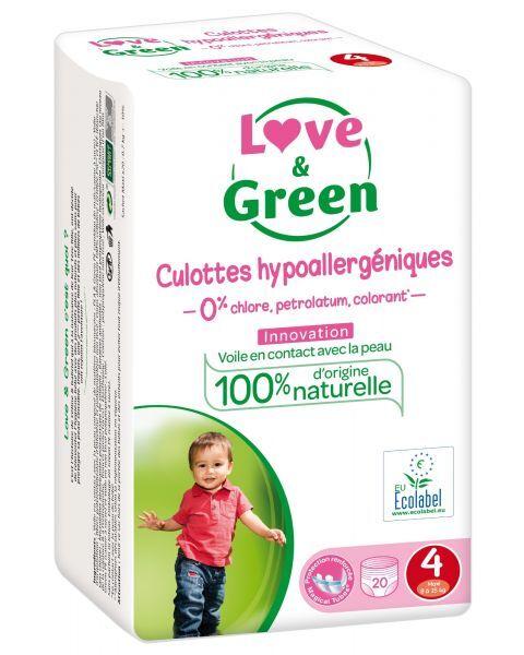 Ekologiškos sauskelnės-kelnaitės LOVE&GREEN, 4 dydžio, 8-15 kg, 20 vnt.