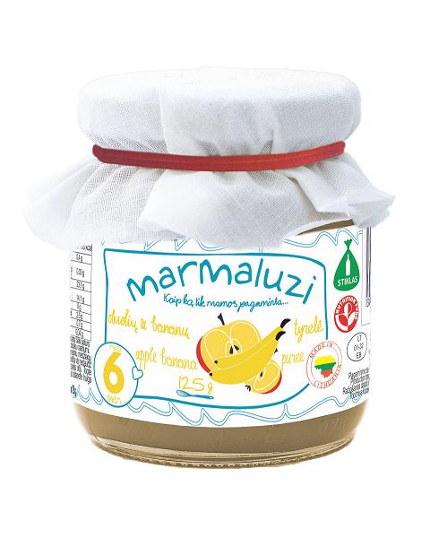 Obuolių ir bananų tyrelė MARMALUZI kūdikiams nuo 6 mėn., 125 g