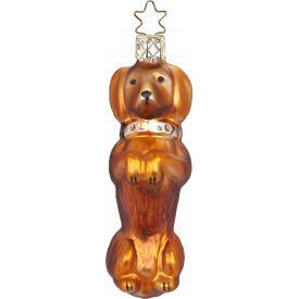 """Rankų darbo kalėdinis žaisliukas INGE-GLAS® """"Šuniukas taksas"""", 9.5 cm, 1 vnt."""