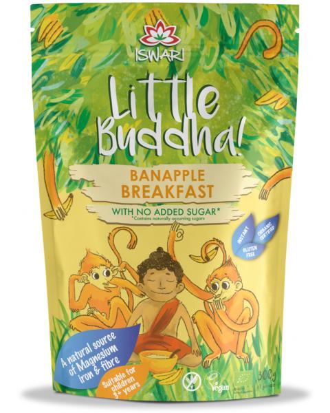 Ekologiškas pusryčių mišinys vaikams Little Buddha su bananais Banapple, 300g
