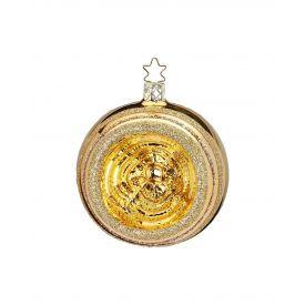 """Rankų darbo kalėdinis žaisliukas INGE-GLAS® """"Aukso atspindžiai - burbulas"""", 6 cm, 1 vnt."""