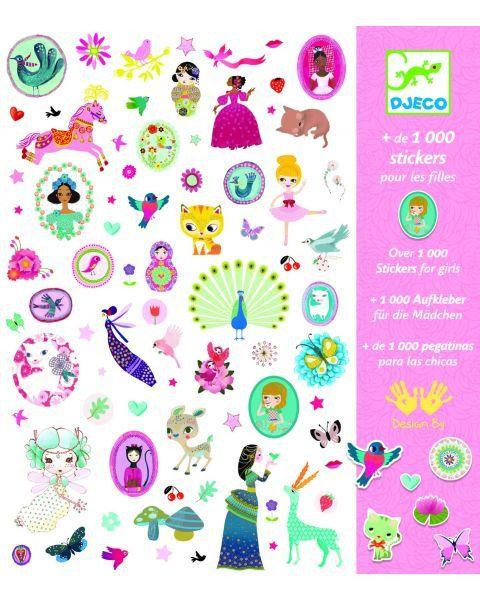 1000 lipdukų rinkinys Mergaitėms DJECO vaikams nuo 4 metų (DJ08951)