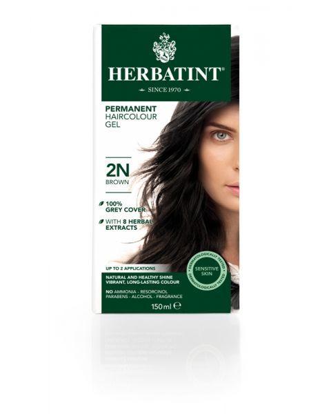 Plaukų dažai be amoniako HERBATINT su ekologiškais ekstraktais, 2N ruda, 150 ml