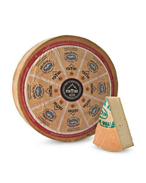 "Puskietis sūris ""FONTINA ALPEGGIO - NICOLETTA"" DOP, brandintas 90 dienų, 1 kg"