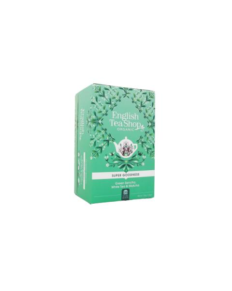 Ekologiška arbata ENGLISH TEA SHOP Green Sencha, White Tea & Matcha, 20 maišelių