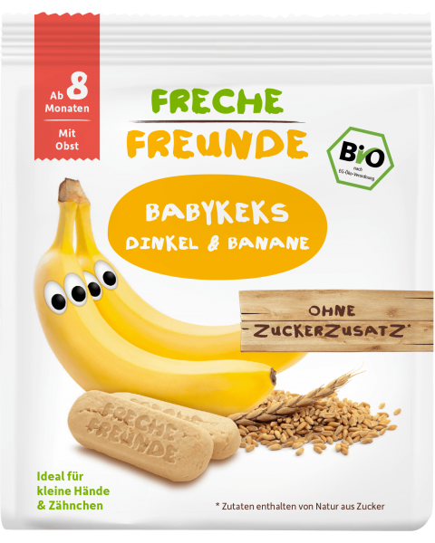 Ekologiški sausainiai FRECHE FREUNDE su spelta ir bananais, nuo 8 mėn., 100 g