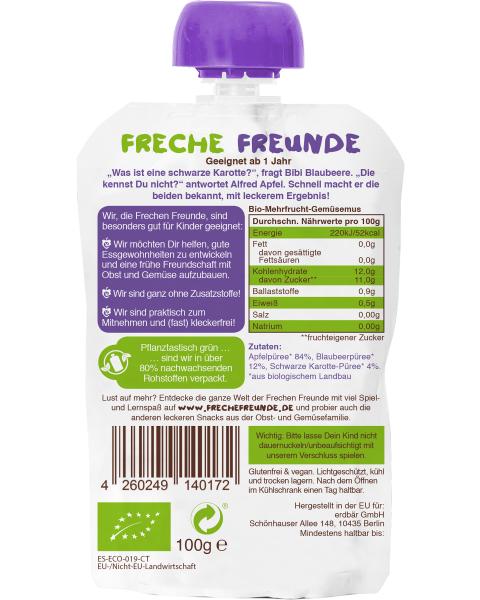Ekologiška obuolių, mėlynių ir purpurinių morkų tyrelė FRECHE FREUNDE, 100 g 2