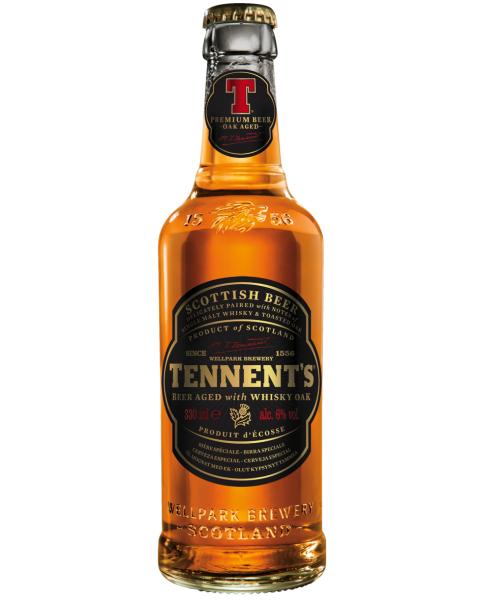 ŠKOTIŠKO VISKIO STATINĖSE BRANDINTAS LAGER stiliaus alus Tennent's Whiskey Oak Scottish beer 6%, 340 ml