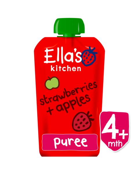 Ekologiška braškių ir obuolių tyrelė ELLA'S KITCHEN kūdikiams nuo 4 mėn., 120 g