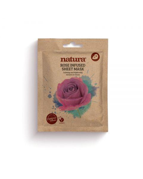 Raminanti ir drėkinanti lakštinė veido kaukė NATURA su rožių ekstraktu, 22ml