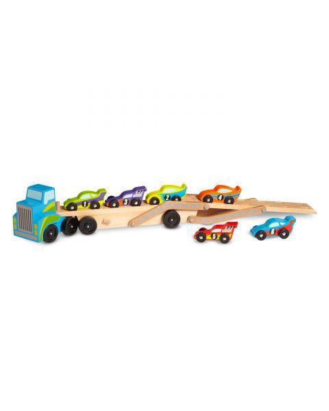 Medinis lenktyninių automobilių sunkvežimis MELISSA & DOUG, 1 vnt. 2