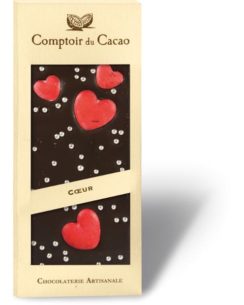 Juodasis šokoladas COMPTOIR du CACAO su širdelėm, 90 g