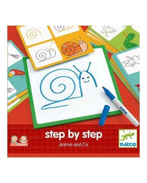 Mokomasis piešimo rinkinys DJECO Žingsnis Po Žingsnio - Gyvūnai 3-6 m. vaikams (DJ08319)