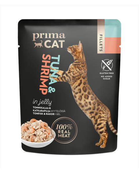 Konservuotas kačių maistas PRIMA CAT tuno file su krevetėmis drebučiuose, 50 g