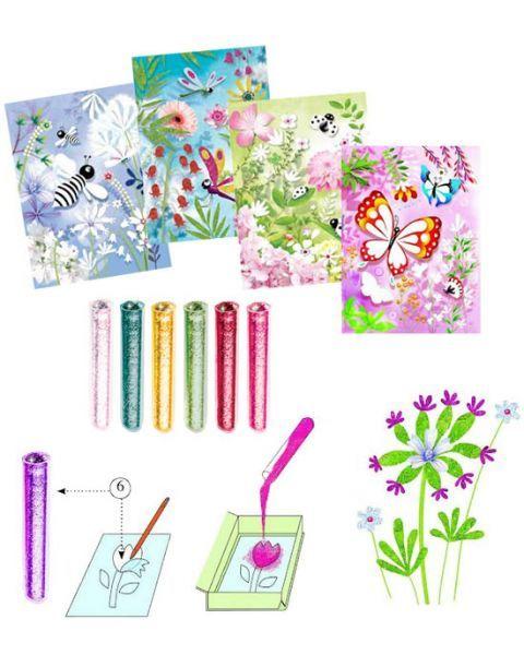 Lipnios lentelės su 6 spalvų blizgučiais DJECO Drugeliai 7-13 m. vaikams (DJ09503) 2