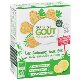 Ekologiški sausainiai gyvūnėliai GOOD GOUT citrinų skonio, 80g., nuo 10 mėnesių