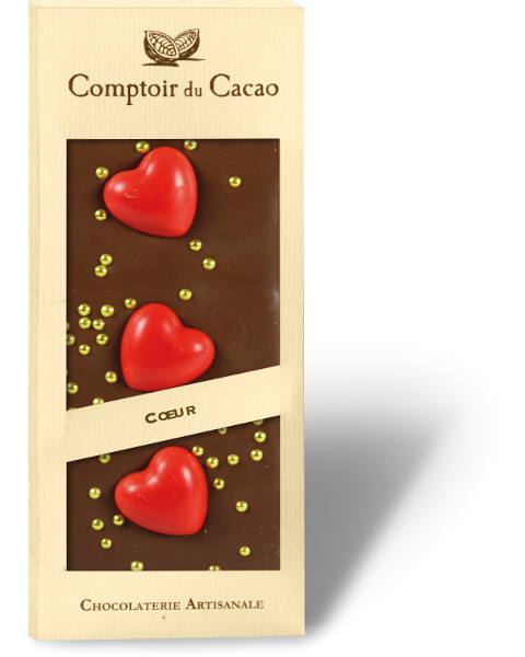 Pieninis šokoladas COMPTOIR du CACAO su širdelėm, 90 g