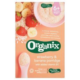 Ryžių ir kukurūzų košė su braškėmis ir bananais ORGANIX nuo 6 mėn., 120 g