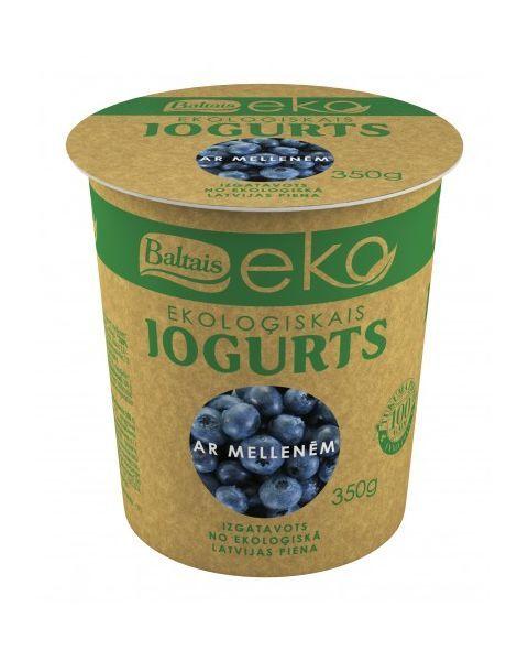 Ekologiškas jogurtas BALTAIS su mėlynėmis, 350g