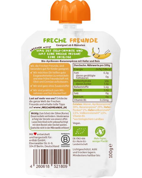 Ekologiška abrikosų ir bananų tyrelė FRECHE FREUNDE, 100 g 2