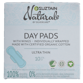 Ekologiški itin ploni dieniniai higieniniai paketai SUZTAIN, 10 vnt.