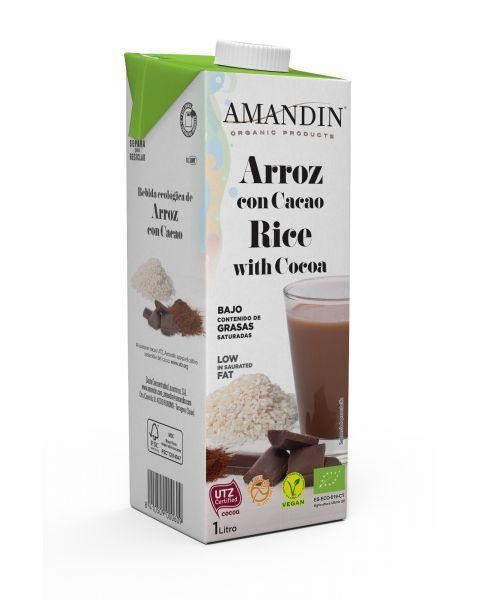 Ekologiškas ryžių gėrimas su kakava AMANDIN, 1L