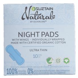 Ekologiški itin ploni naktiniai higieniniai paketai SUZTAIN, 10 vnt.