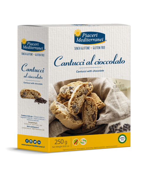 Sausainiai Cantuccini su šokoladu Piaceri Mediterranei be gliuteno, 250 g