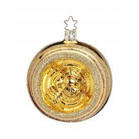 """Rankų darbo kalėdinis žaisliukas INGE-GLAS® """"Aukso atspindžiai - burbulas"""", 8 cm, 1 vnt."""