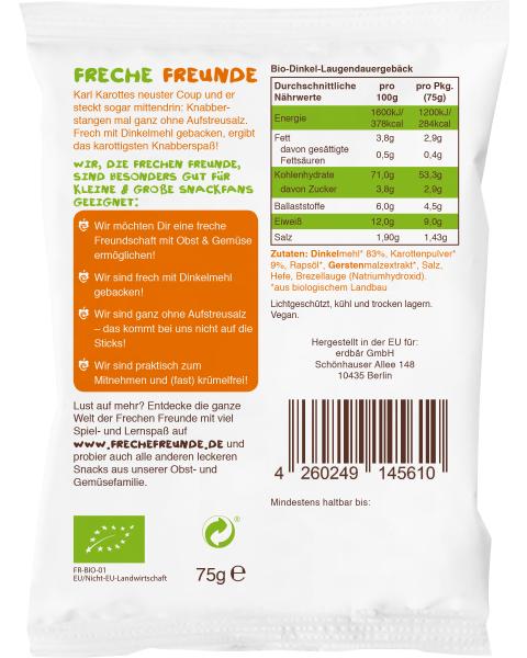 Ekologiškos trapios lazdelės FRECHE FREUNDE su morkomis, 75 g 2