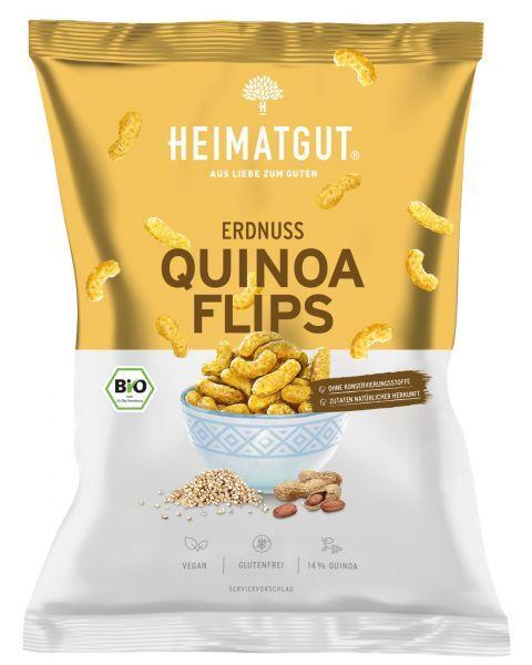 Ekologiški žemės riešutų ir bolivinės balandos traškučiai HEIMATGUT Erdnuss&Quinoa Flips, 115 g