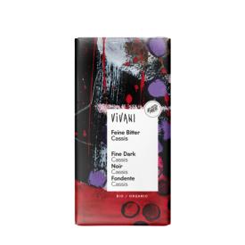 """Ekologiškas juodasis šokoladas VIVANI su likerio """"Cassis"""" kremu, 100 g"""