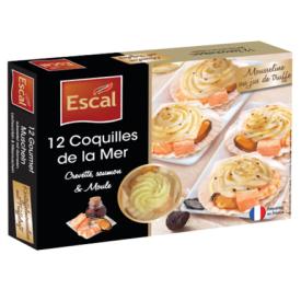 Jūros geldelės su krevetėmis, midijomis, lašiša, su bulvių tyre, sviestu ir trumų sultimis ESCAL, 350 g