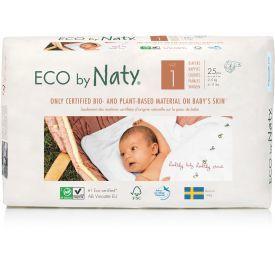 Sauskelnės EKO by NATY 1 Newborn 2-5 kg kūdikiams, 25 vnt.