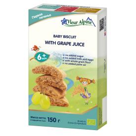 Ekologiški tirpieji sausainiai su vynuogių sultimis FLEUR ALPINE nuo 6 mėn., 150 g