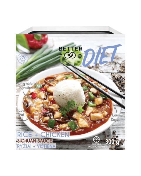 Paruošti vartoti ryžiai su vištiena sičuano padaže (DIET) BETTER FOOD, 300g