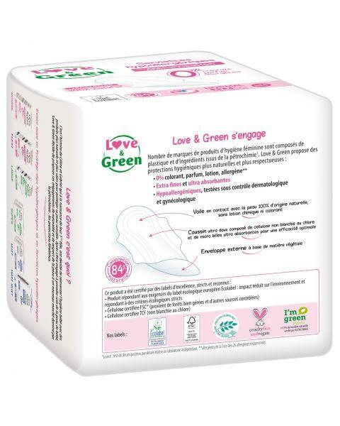 Ekologiški vidutinio dydžio higieniniai paketai LOVE&GREEN, 14 vnt. 2