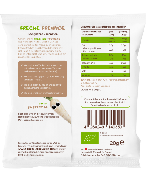 Kukurūzai FRECHE FREUNDE su pastarnokais, nuo 7 mėn., 20 g 2